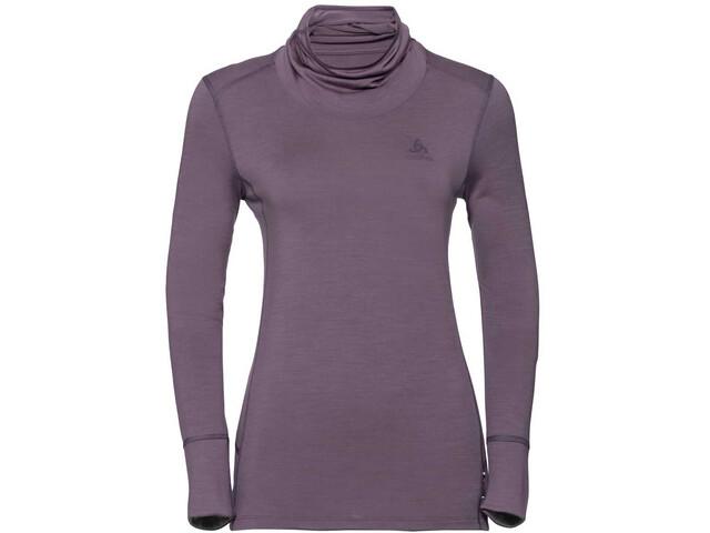 Odlo Natural 100% Merino Bl T-shirt Manches longues Col ras-du-cou Femme, vintage violet/grey melange